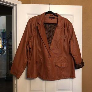 Brown faux leather blazer